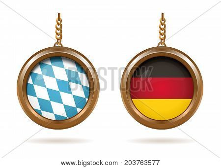Golden medallions set with the Bavarian and German flag inside. Blue-white checkered Bavarian flag and German tricolor. Vector illustration