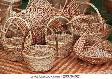 Wicker Ware On Counter