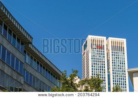 Frankfurt, Germany - July 27, 2017: UBS AG in Frankfurt. Union Bank of Switzerland.