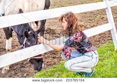 Young woman petting a black and white grazing on grass horse behind fence in countryside at dirt field pasture paddock with white wooden fence