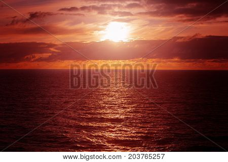 Sunset, sunset with beautiful clouds in the open sea