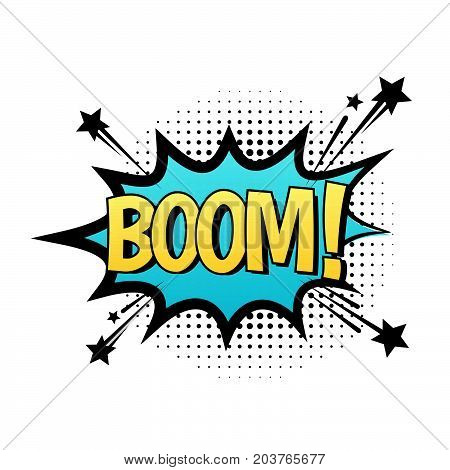 BOOM vector speech bubble. Cartoon comic explosion with text