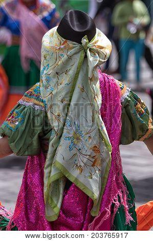 June 17 2017 Pujili Ecuador:traditional female dress details worn at the Corpus Christi annual parade