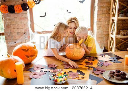 What`s Inside? Blonde Curious Family Of Mommy And Two Siblings Made A Jackolantern, Peeking Inside I