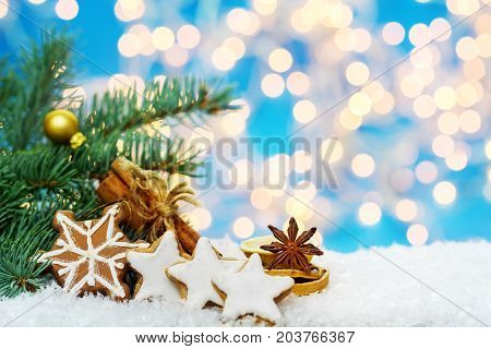 Cinnamon stars and spices Christmas decoration in the snow
