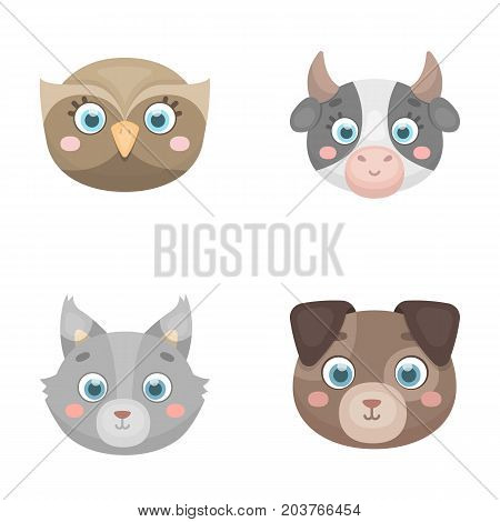 Owl, cow, wolf, dog. Animal's muzzle set collection icons in cartoon style vector symbol stock illustration .