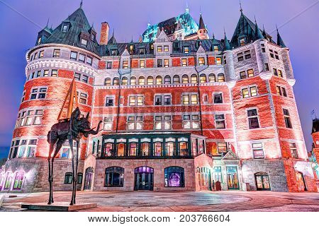 Quebec City, Canada - May 30, 2017: Old Town Night Colorful View Of Fairmont Chateau Frontenac And P