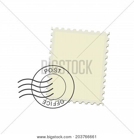 Postage stamp and postmark. Realistic isolated vector illustration on white background.