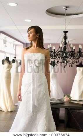 young bride in the wedding dress