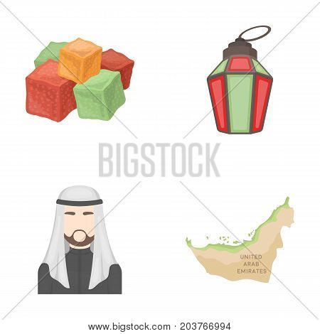 Eastern sweets, Ramadan lamp, Arab sheikh, territory.Arab emirates set collection icons in cartoon style vector symbol stock illustration .