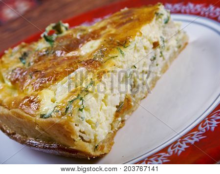 tasty homemade quiche with halibut.farm-style , close up