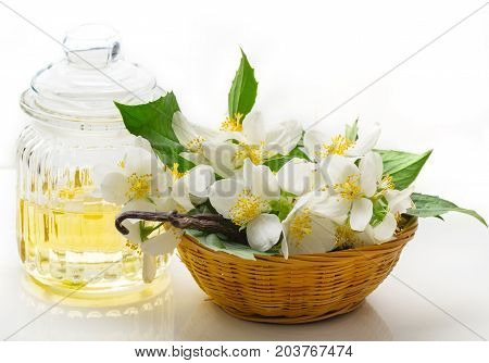 Jasmine Oil Jasmine flowers and vanilla beans