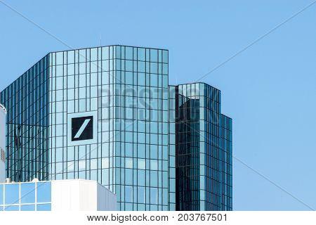 Frankfurt, Germany - July 27, 2017: Deutsche Bank headquarter building in Frankfurt at Main.