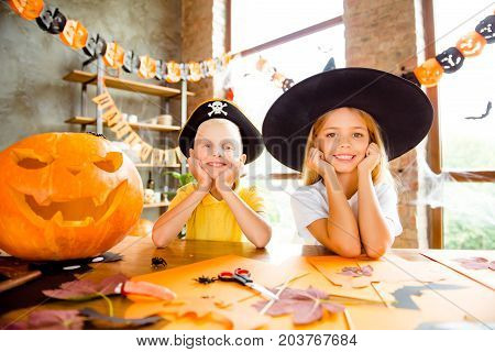 Close Up Cropped Photo Portrait Of Two Small Kids At Halloween Party - Blond Small Witch And Pirate,