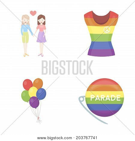 Lesbians, dress, balls, gay parade. Gay set collection icons in cartoon style vector symbol stock illustration .