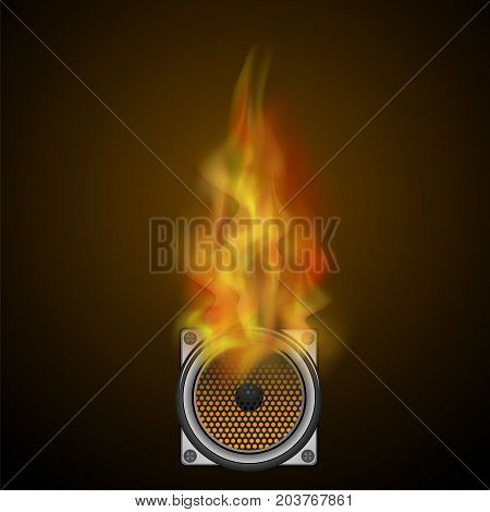 Musical Black Speaker and Fire Flame Isolated on Blurred Dark Background