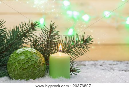 Christmas greeting card Christmas decoration with candle