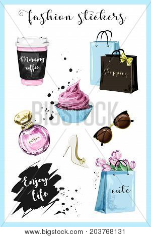 Fashion planner girl stickers with coffee cup, shopping bags, perfume, shoe, sunglasses, flowers, cupcake and slogan sticker. Sketch. Cute stickers for girls.