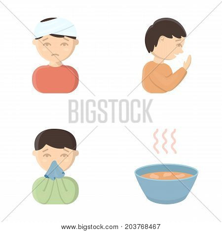 A man with a bandaged head, a man coughing, a man snorts a snot, a bowl, a bowl of hot broth into a handkerchief. Sick set collection icons in cartoon style vector symbol stock illustration .
