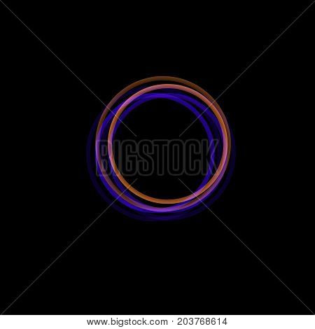Isolated funnel abstract logo, linear unusual shape, circular line logotype. Luminous hoops, rings, wheel graphic illustration on the black background