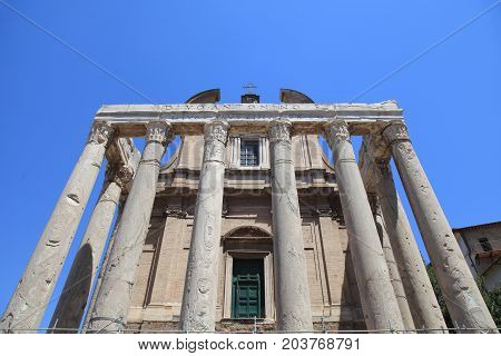 Ruins of Temple of Antoninus and Faustina in Roman Forum, Rome, Italy