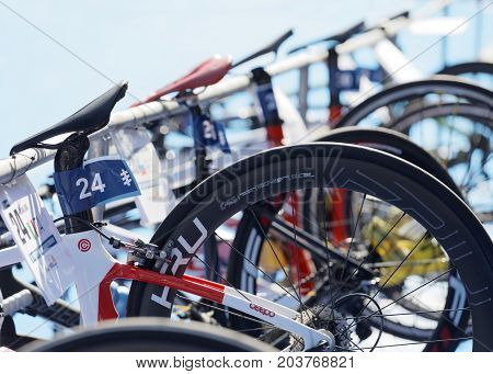 STOCKHOLM - AUG 26 2017: Many triathlon cycles in the transition zone in the Women's ITU World Triathlon series event August 26 2017 in Stockholm Sweden