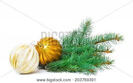 Christmas greeting card Christmas decoration with Christmas tree balls isolated