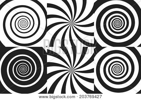 Horizontal banner set of psychedelic spiral with radial rays, twirl, twisted comic effect, vortex backgrounds. Vector illustration. Design elements