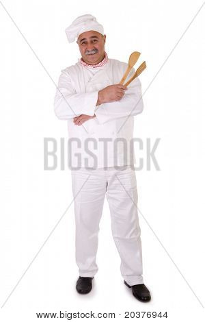 Italian chef holding spoons