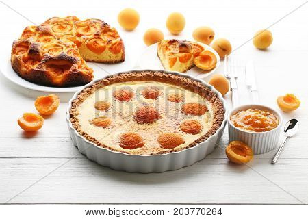 Apricot Pies With Jam On White Wooden Table