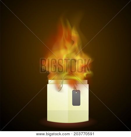 Burning Paper Shopping Bag Isolated on Dark Background
