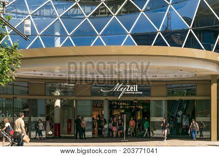 Frankfurt, Germany - July 27, 2017: MyZeil - shopping mall in center of Frankfurt.