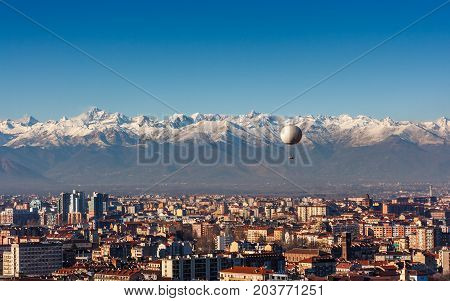 Panorama Of Turin, With The Alps In The Backround, Turin, Italy
