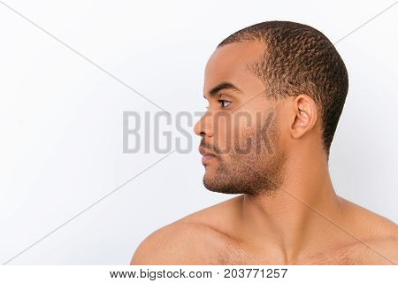 Hygiene, Vitality, Beauty, Men Life Concept. Side Profile View Of Afro Young Nude Guy With Stubble I