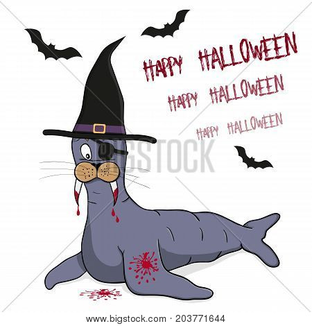 Stylized vector sea lion pirate with witch hat. Sea lion stylized like a vampire. White background with black silhouettes of bats.