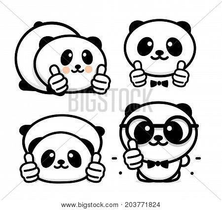 OK logo. Funny little cute panda showing gesture with hand, abstract symbol of approval and adoption. Vector thumbs up logo with the image of a Chinese black and white bear showing its consent.