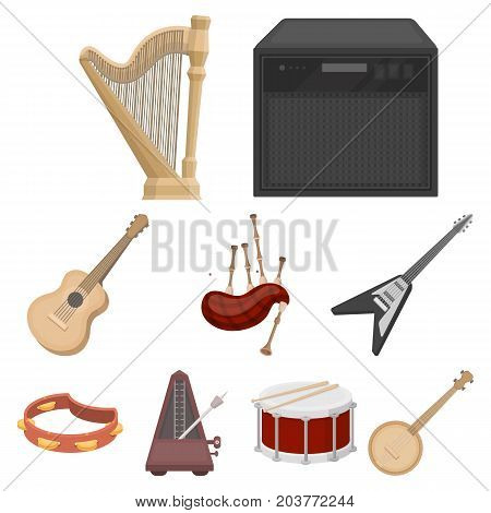 Musical instruments set icons in cartoon style. Big collection of musical instruments vector symbol stock