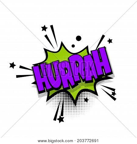 hurrah, win, winner lettering. Comics book balloon. Bubble icon speech phrase. Cartoon font label tag expression. Comic text sound effects. Sounds vector illustration.