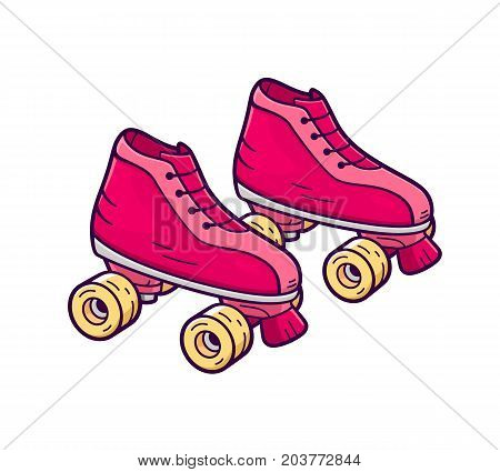Retro quad roller skates icon isolated on white background. Pink and yellow color girl rollers in flat cartoon style for t-shirt or logo design