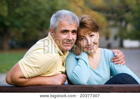 senior couple in love at the park