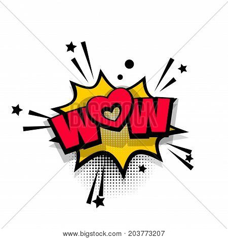 Wow, love, heart, super lettering. Comics book balloon. Bubble icon speech phrase. Cartoon font label tag expression. Comic text sound effects. Sounds vector illustration.