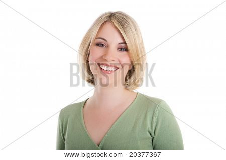happy woman with toothy smile