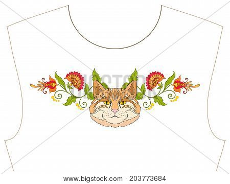 Embroidery for neckline, collar for T-shirt, blouse, shirt. Pattern of flowers and cats. Stock vector illustration.