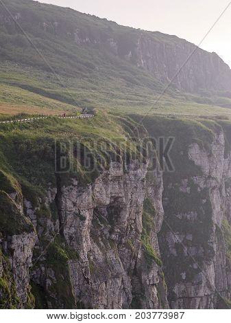 Steep cliffs near Ballintoy, Antrim, Northern Ireland