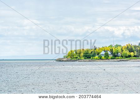 La Malbaie, Canada Saint Lawrence River Town Cityscape Skyline In Charlevoix Region In Quebec With C