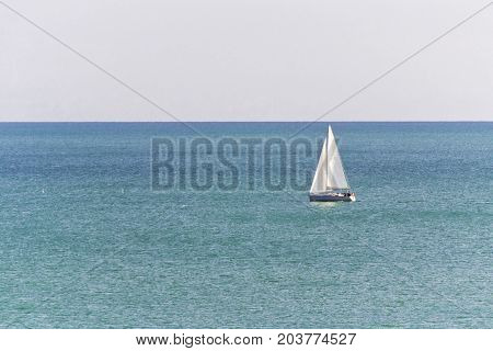 sailboat in the sea. luxury yachting in a calm water. for marine and navigation concept