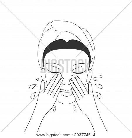 Vector illustration for cosmetic skin care materials: young lady washing her face with foam cleanser. Girls Foam Cleanser could be makeup remover, skin repair or anti acne.
