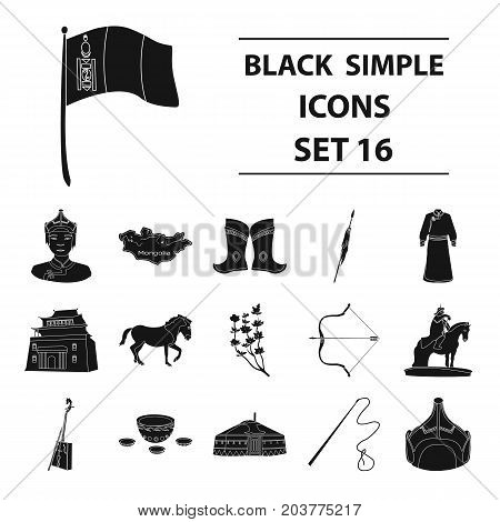 Genghis Khan, a monastery, Yurt and other sights of Mongolia. Mongolia set collection icons in black style vector symbol stock illustration .