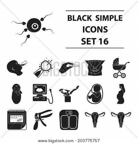 Pregnancy set icons in black style. Big collection pregnancy vector symbol stock