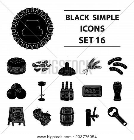 A chair, a beer, a sign, items for a pub.Pub set collection icons in black style vector symbol stock illustration .